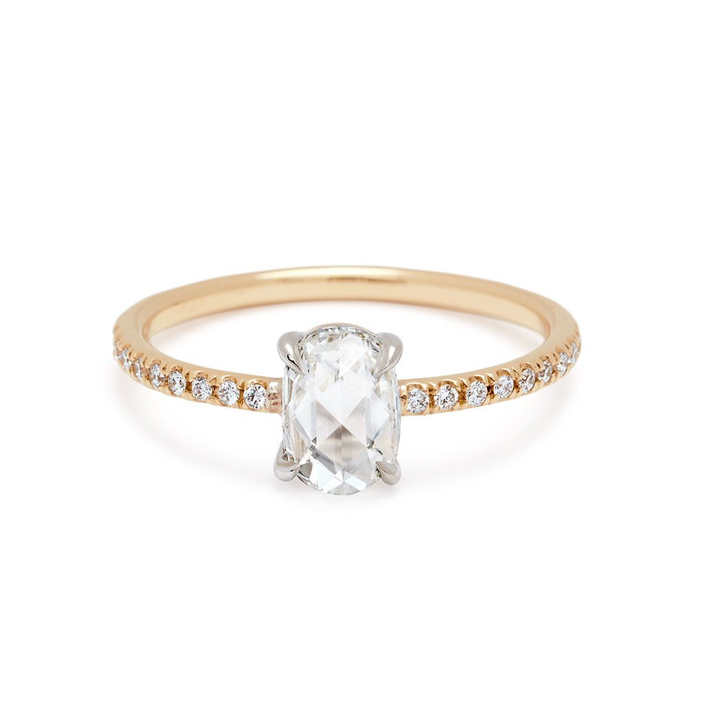 Anna Sheffield Diamond Pave 14K Two Tone Gold Engagement Ring front view