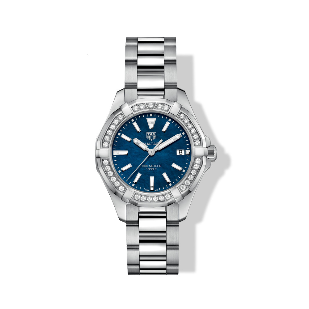 Tag Heuer Blue Dial Diamond Bezel Sports Aquaracer Watch