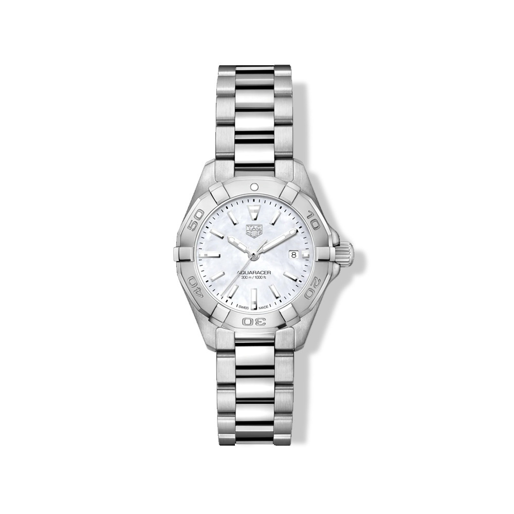 Tag Heuer Aquaracer 27mm Steel Watch with Mother of Pearl Dial