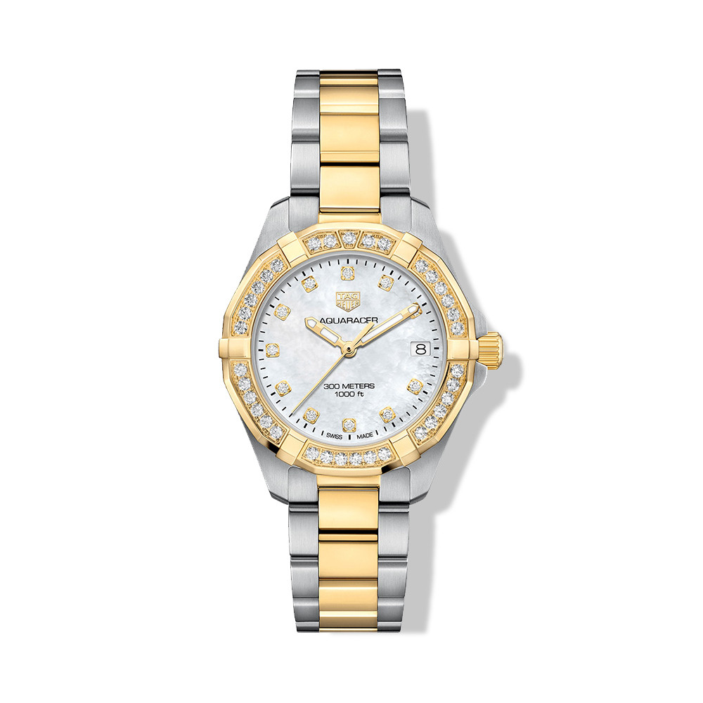 Tag Heuer Aquaracer Two Tone Diamond White Mother of Pearl Watch