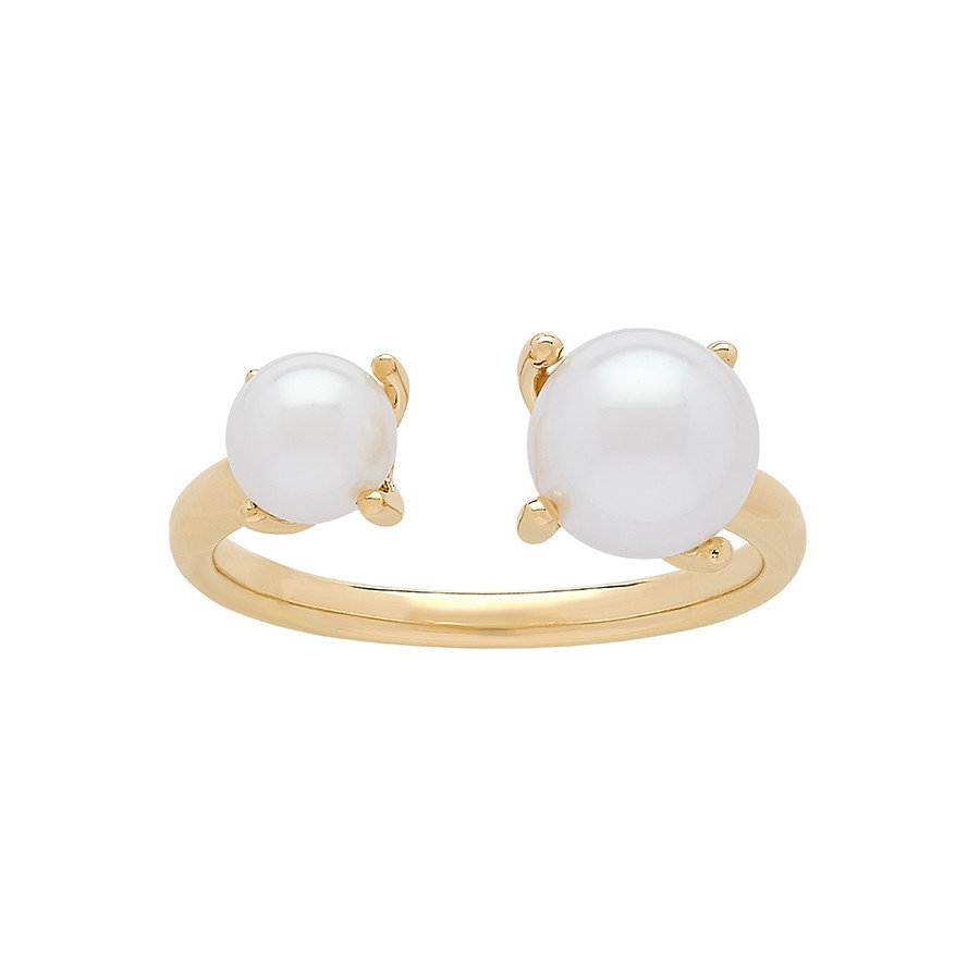 Honora Yellow Gold Icon White Round Pearl Open Band Ring