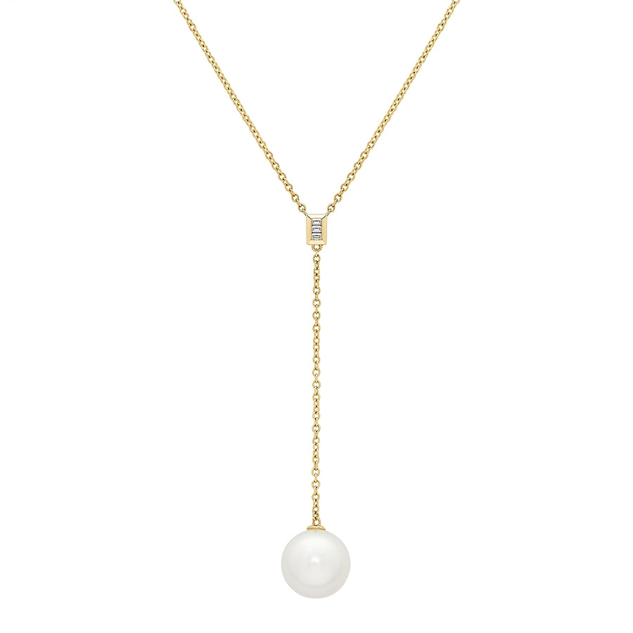 Honora Luxe Yellow Gold White Ming Pearl Drop Necklace