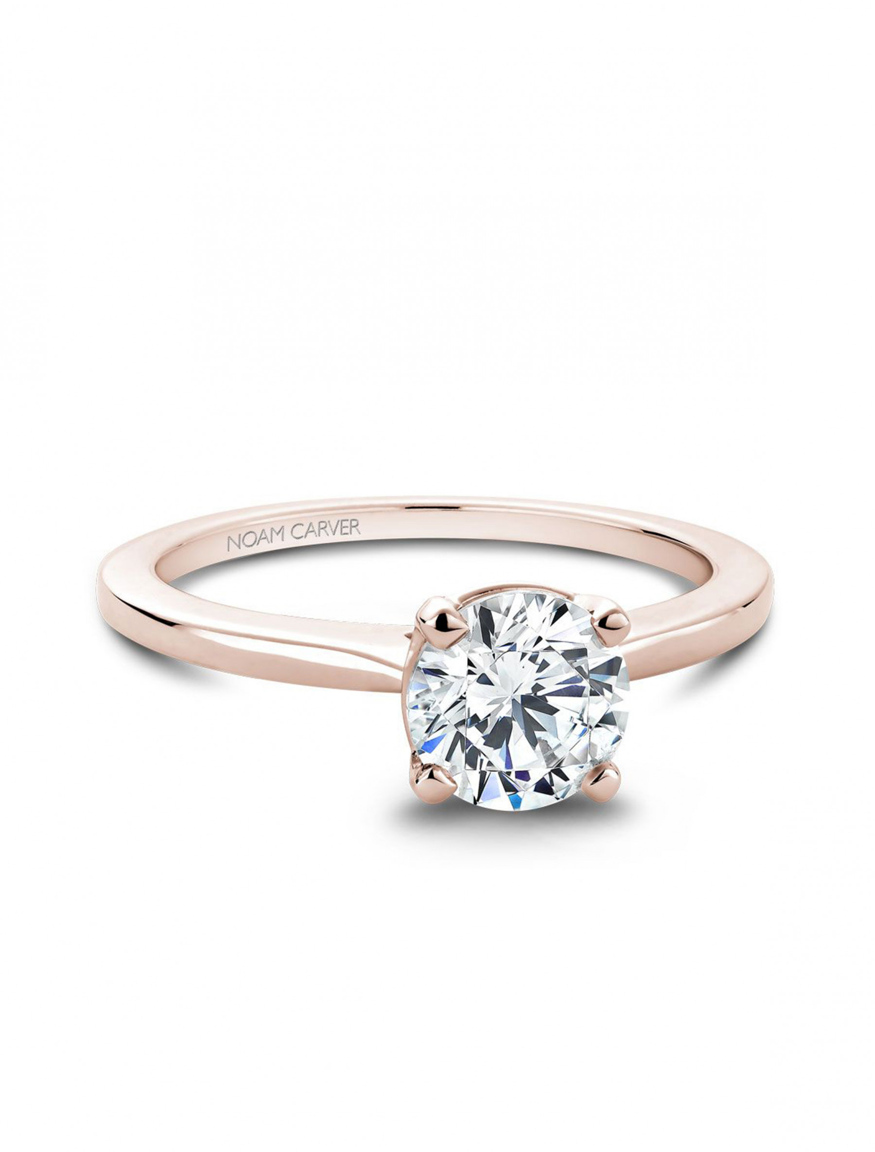 Noam Carver 14K Rose Gold Round Solitaire Engagement Ring Setting main view