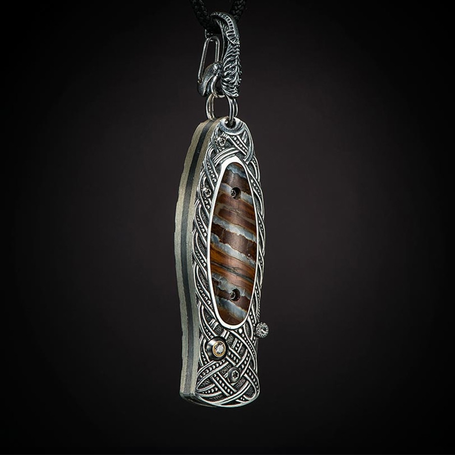 Morpheus Galway William Henry Pocket Knife Necklace Angle View