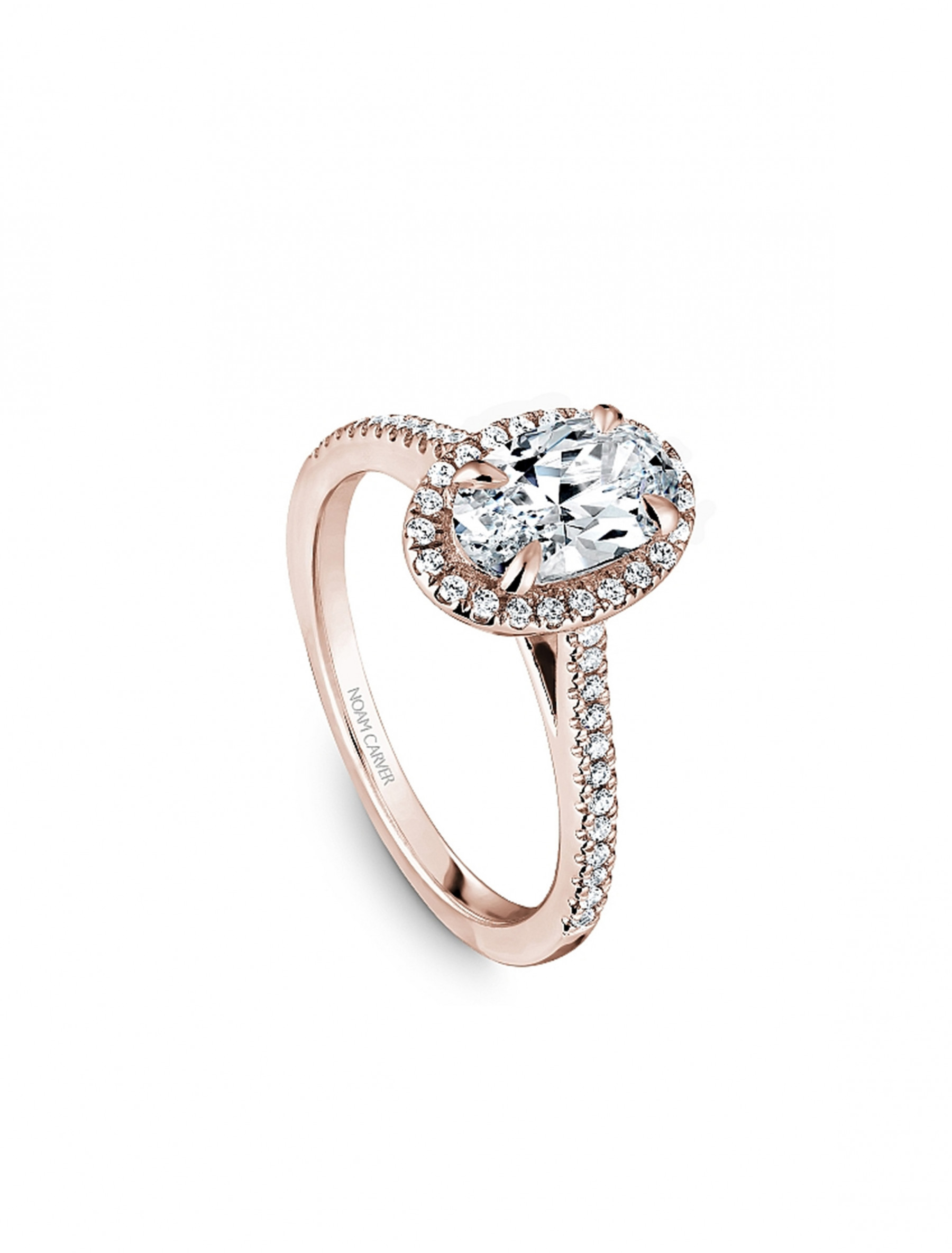 Noam Carver 14K Rose Gold Oval Pave Diamond Halo Engagement Ring Setting angle view