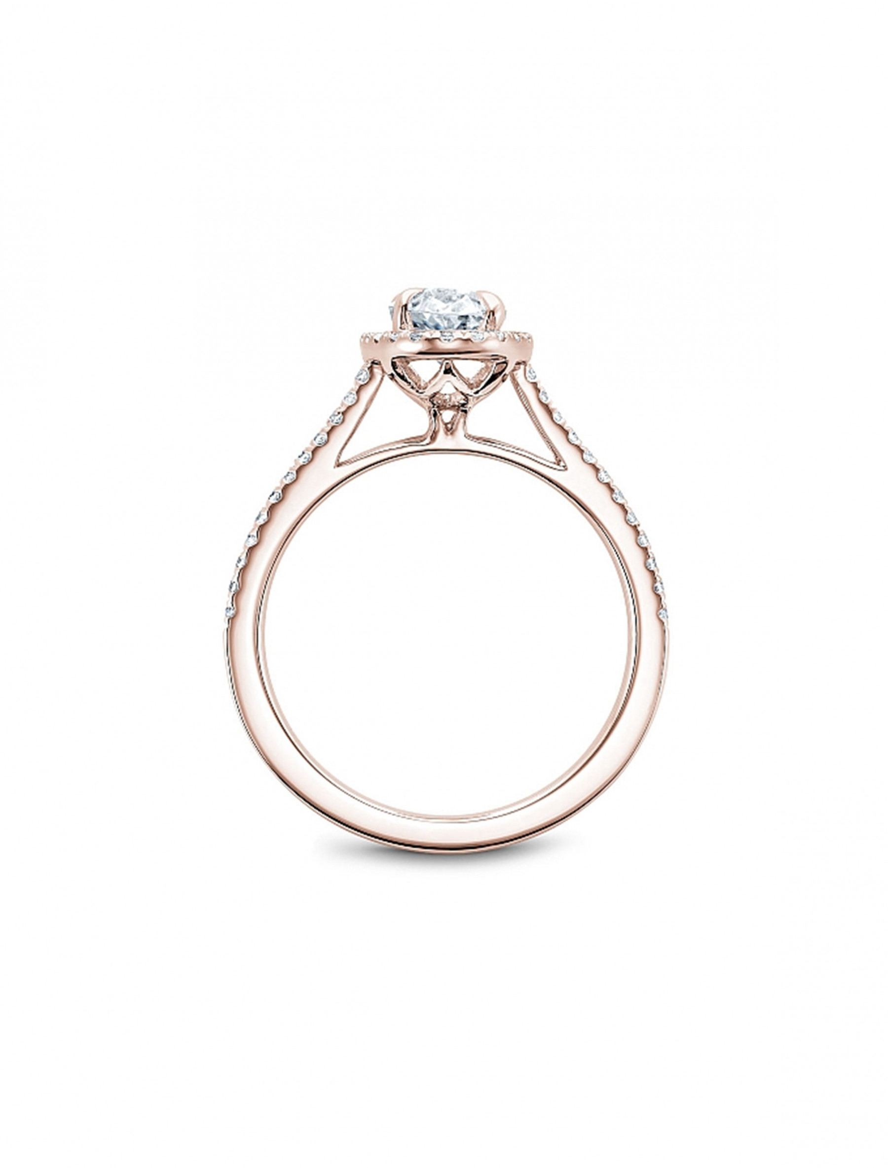 Noam Carver 14K Rose Gold Oval Pave Diamond Halo Engagement Ring Setting side view