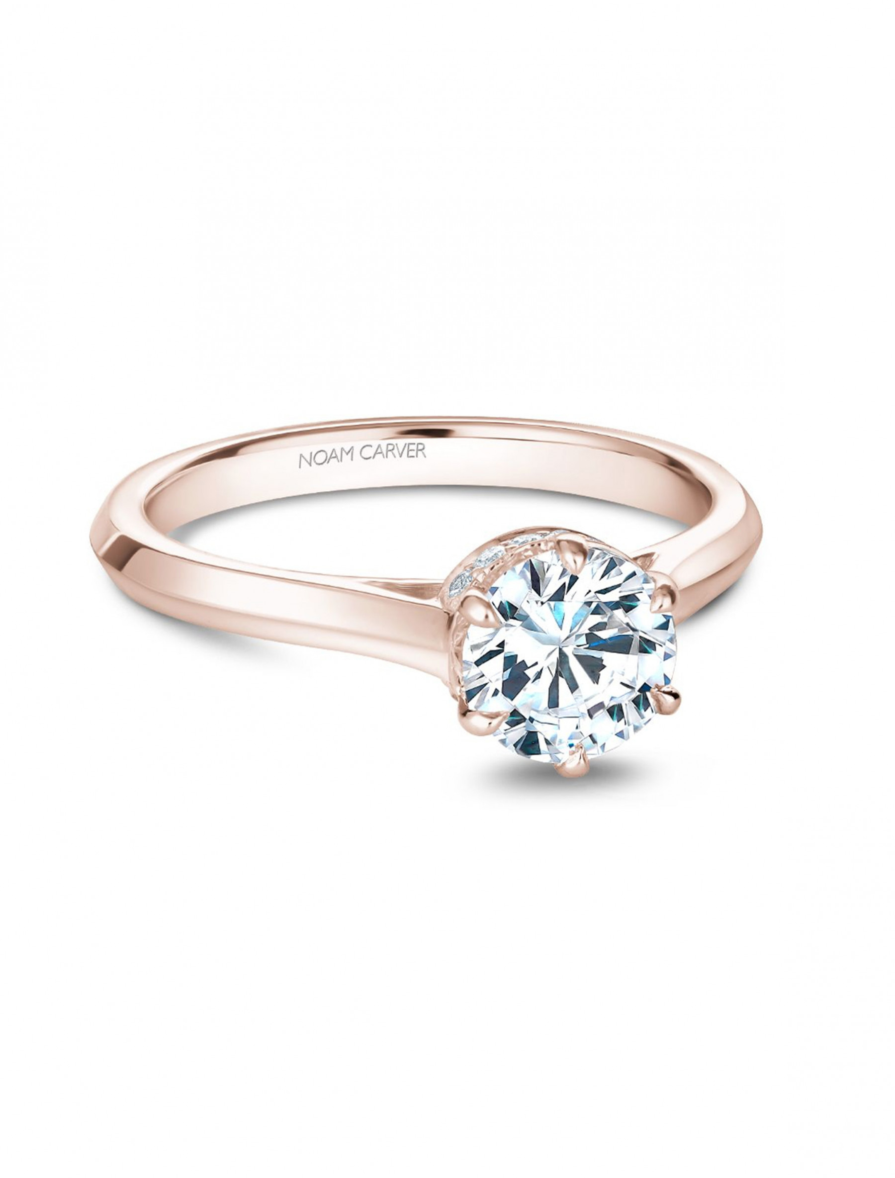 Noam Carver 14K Rose Gold Round Solitaire Pave Diamond Crown Engagement Ring Setting main view
