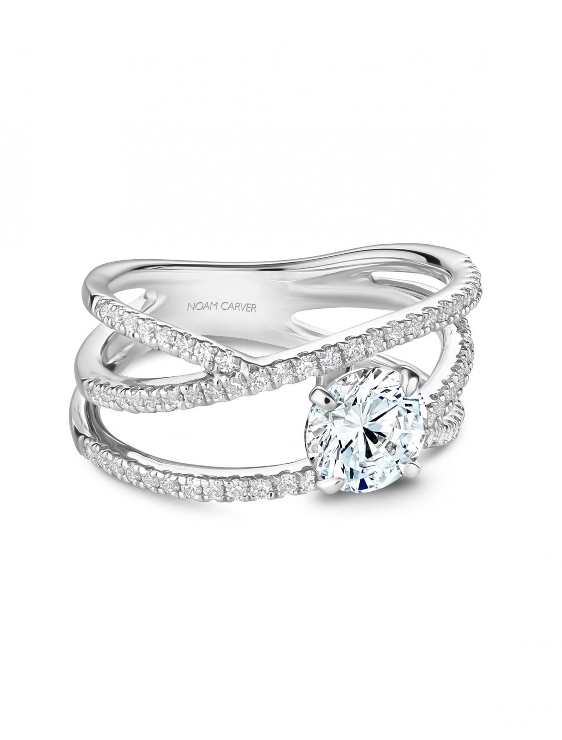 Noam Carver Round Pave Diamond Crossover Engagement Ring Setting front view