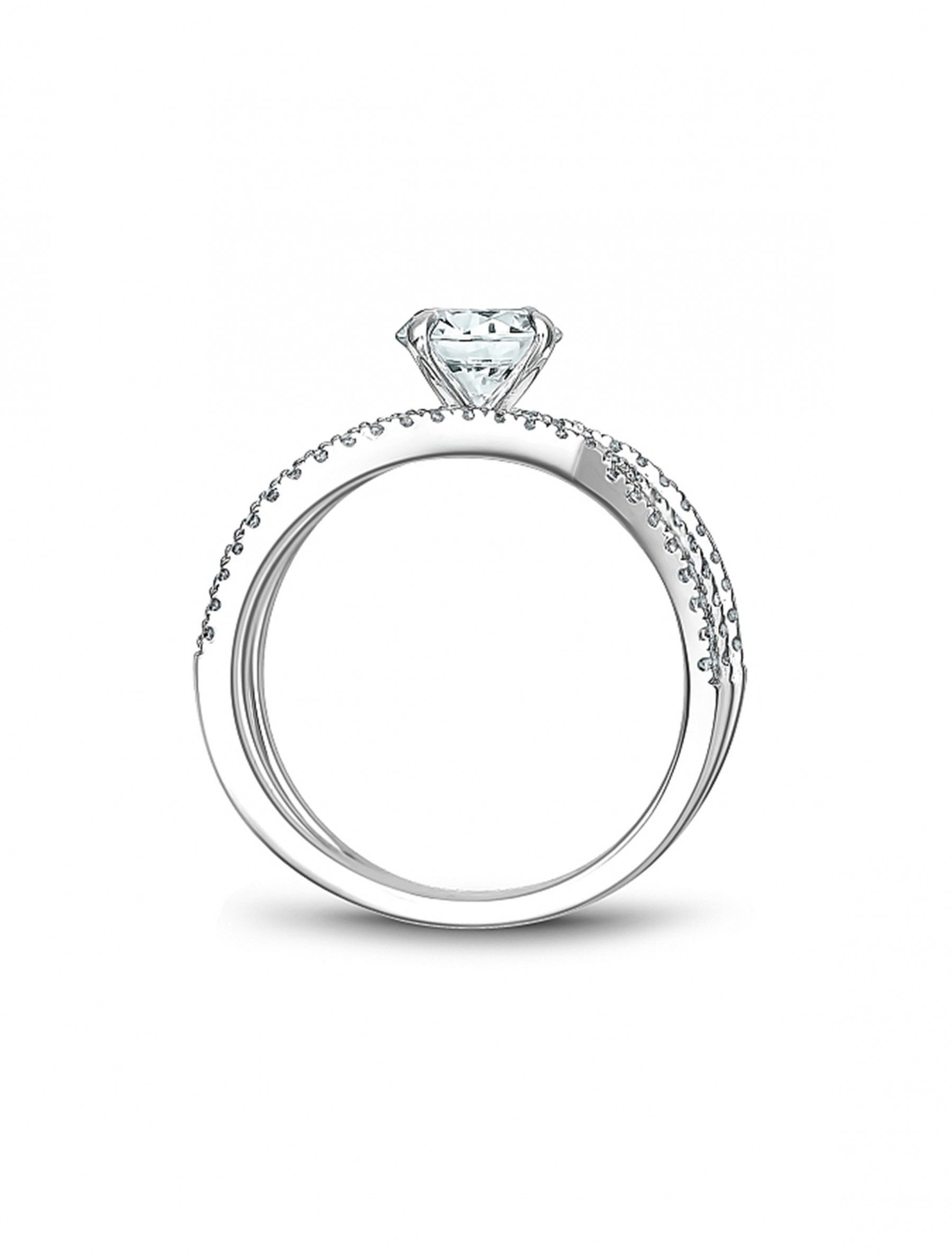 Noam Carver Round Pave Diamond Crossover Engagement Ring Setting side view