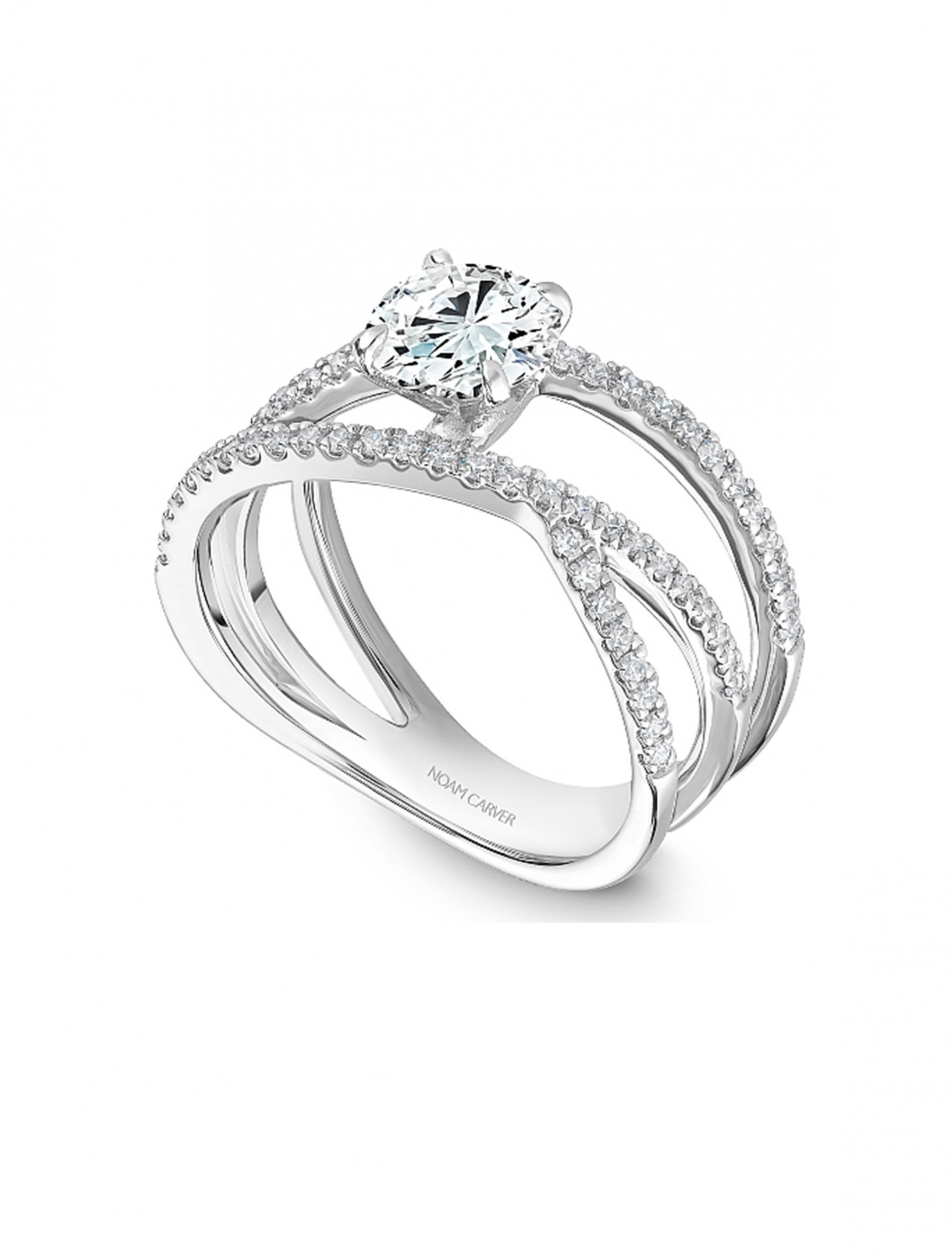 Noam Carver Round Pave Diamond Crossover Engagement Ring Setting top angle view