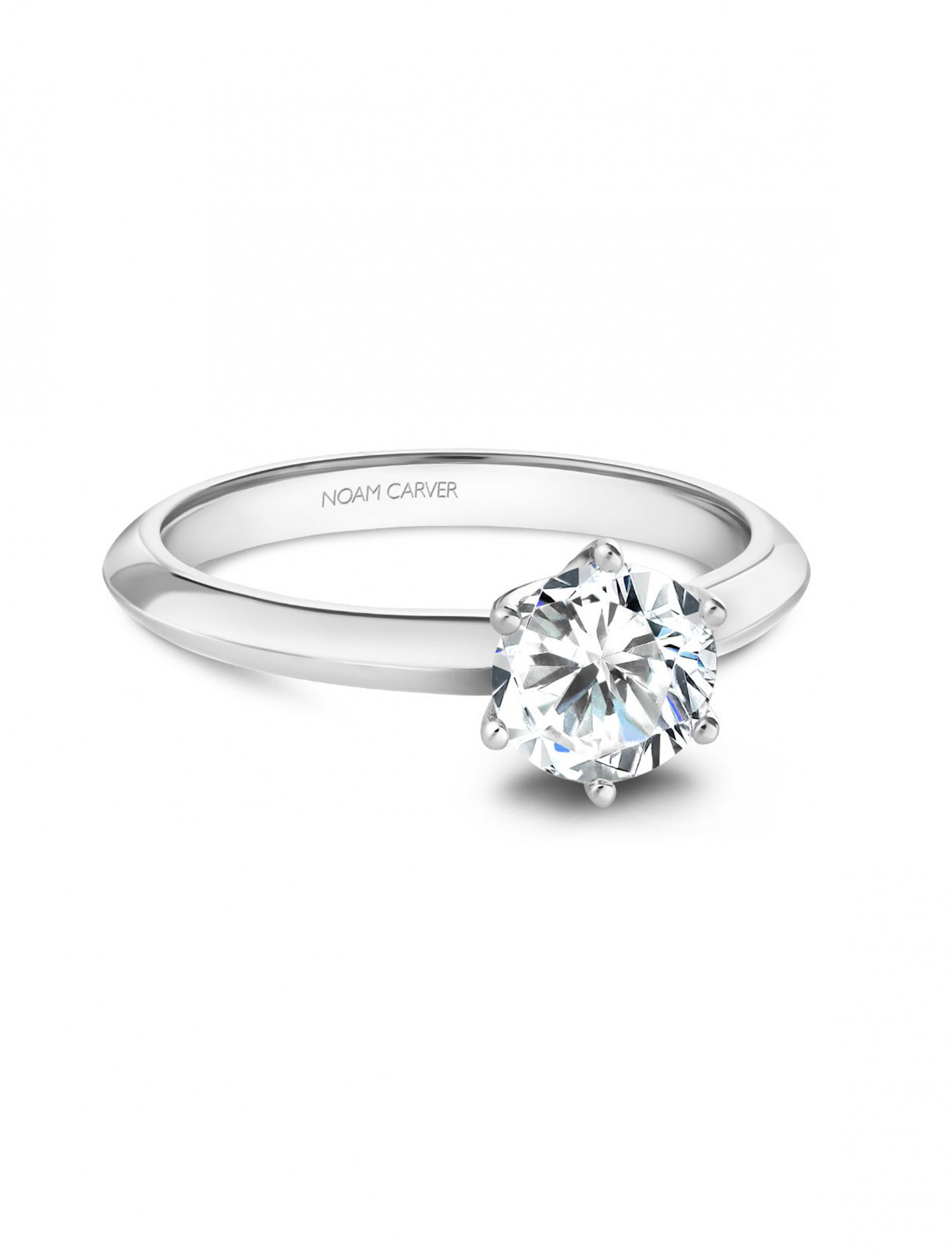 Noam Carver Round Solitaire Knife Edge Engagement Ring Setting in Platinum front view