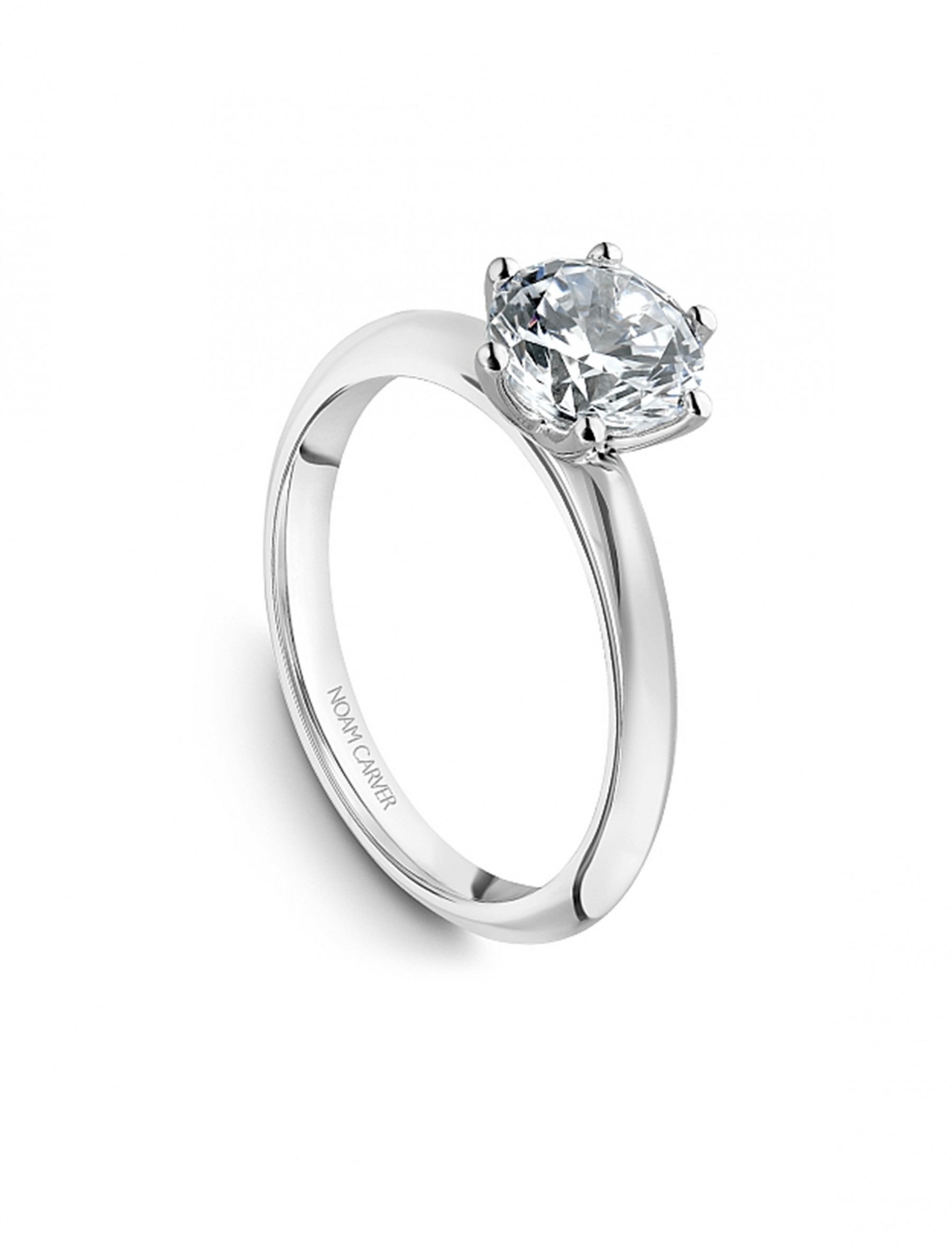 Noam Carver Round Solitaire Knife Edge Engagement Ring Setting in Platinum top angle view