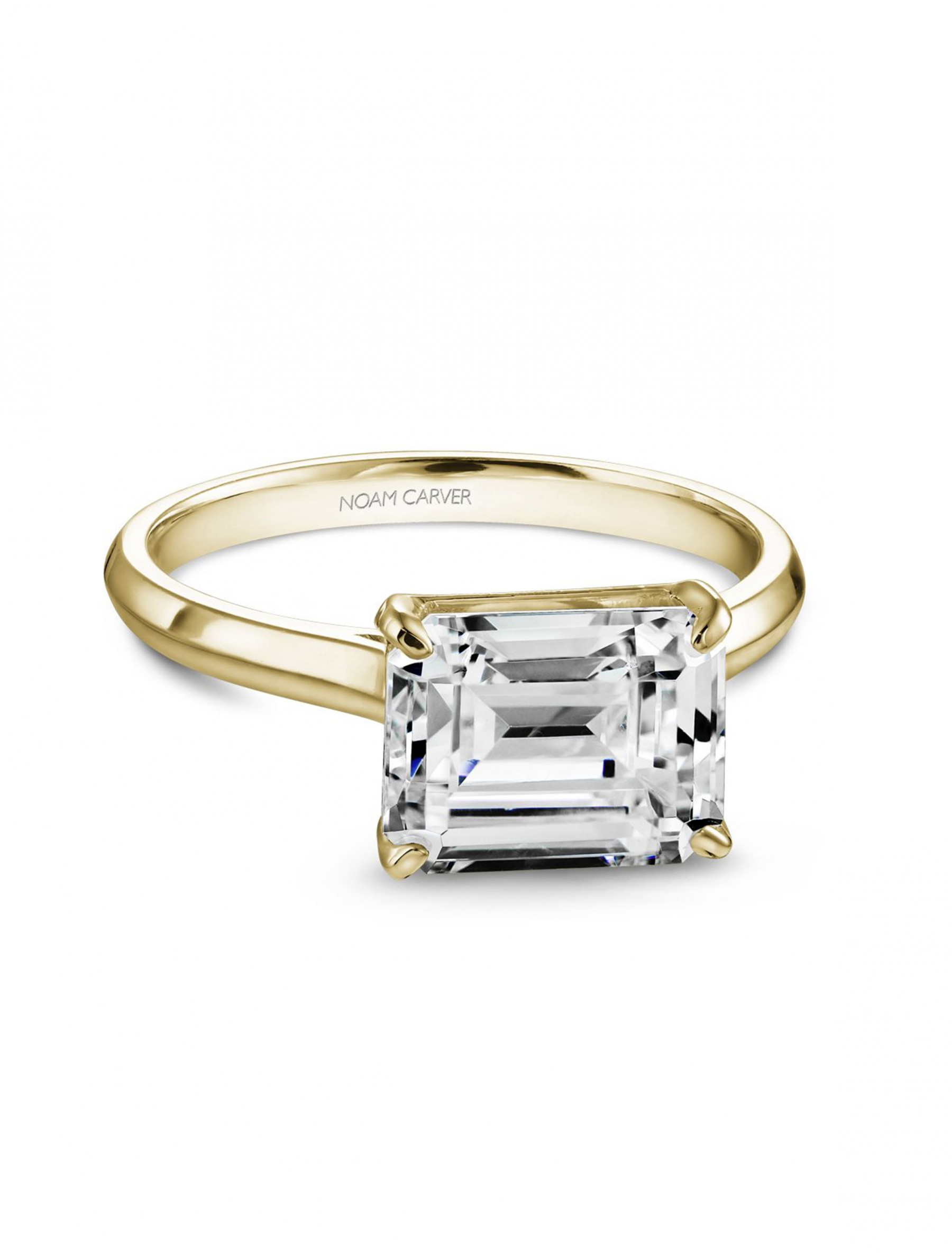 Noam Carver Emerald Solitaire East West Engagement Ring Setting in 18K Gold main view