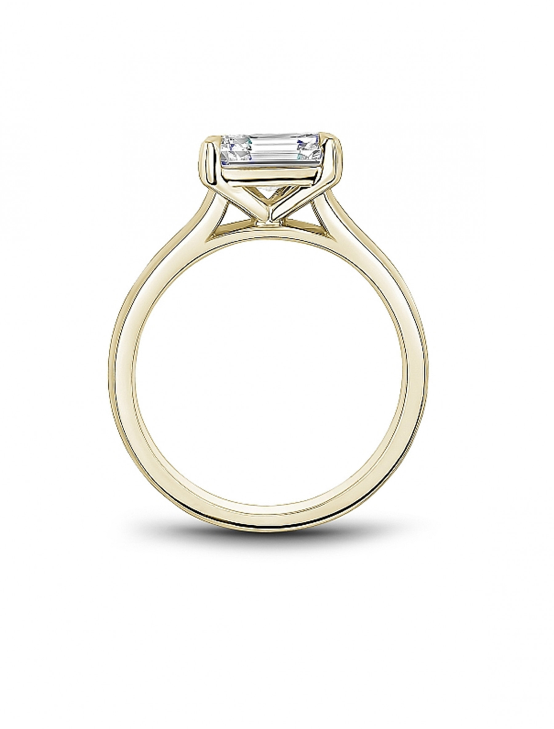 Noam Carver Emerald Solitaire East West Engagement Ring Setting in 18K Gold side view