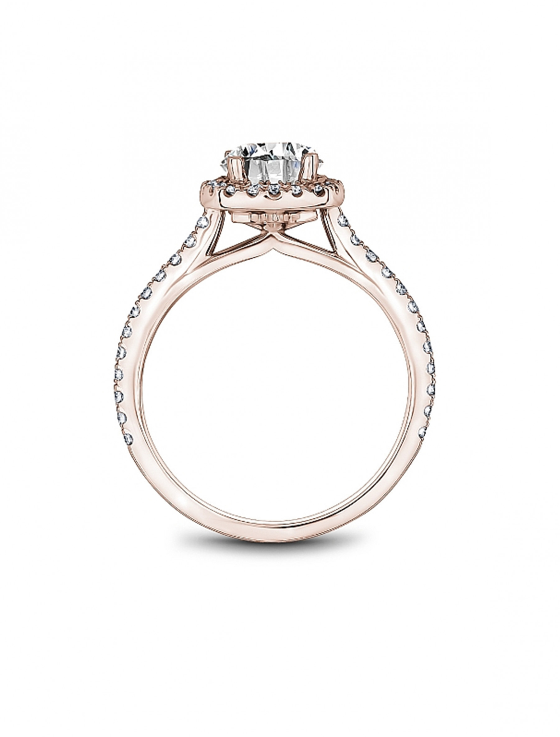Noam Carver Round Cushion Halo Diamond Engagement Ring Setting in 18K Rose Gold side view