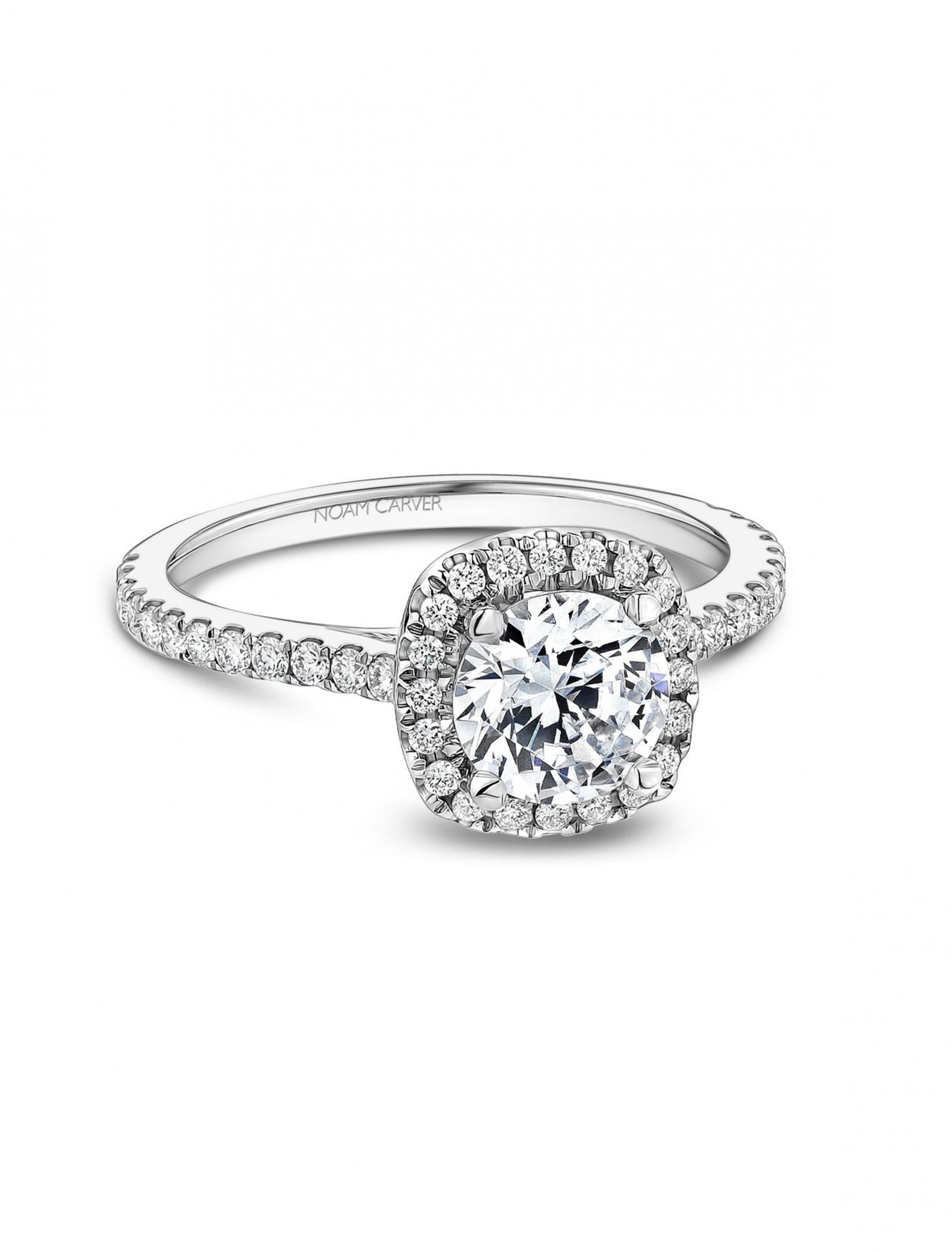 Noam Carver Round Cushion Halo Diamond Engagement Ring Setting in 18K White Gold main view