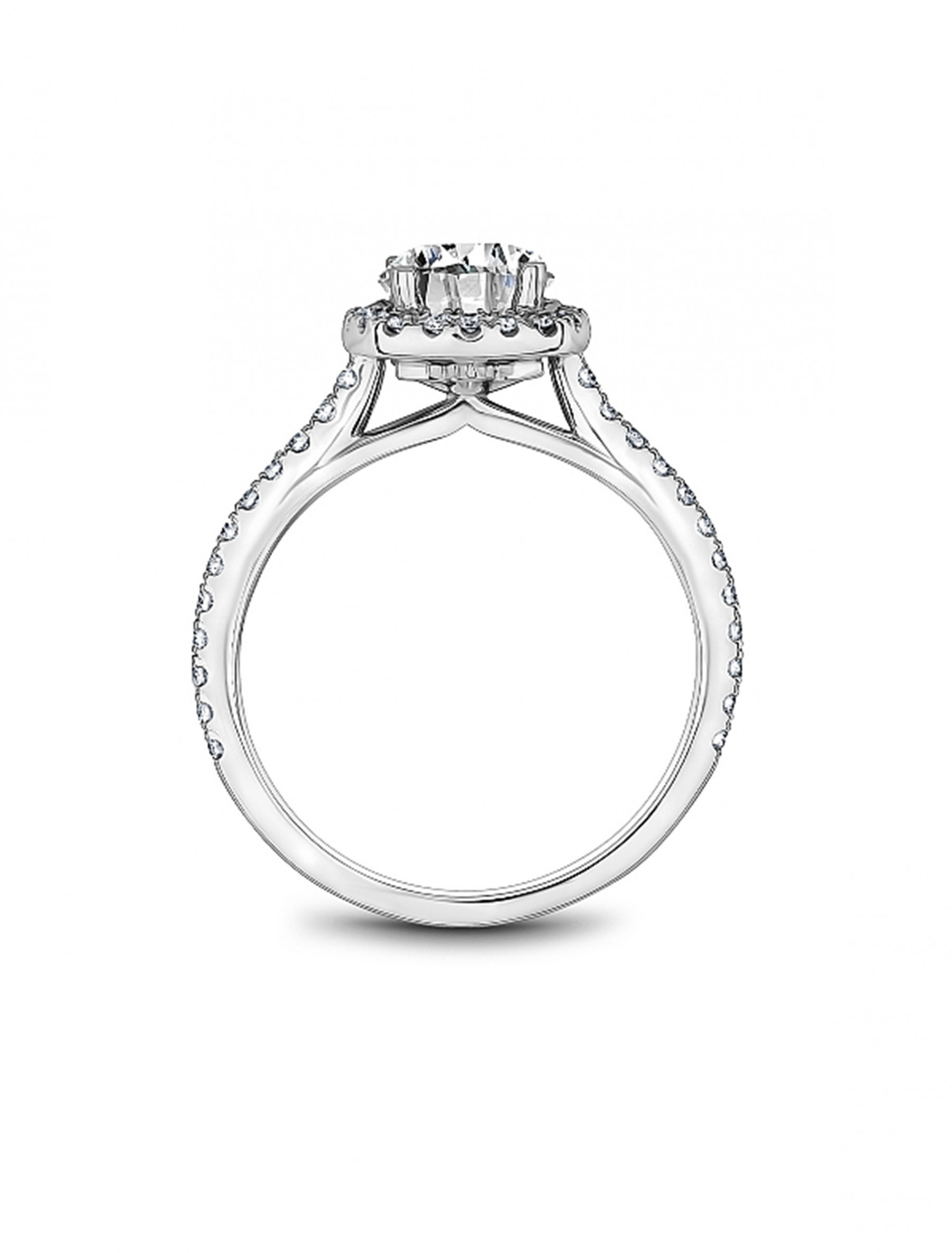 Noam Carver Round Cushion Halo Diamond Engagement Ring Setting in 18K White Gold side view