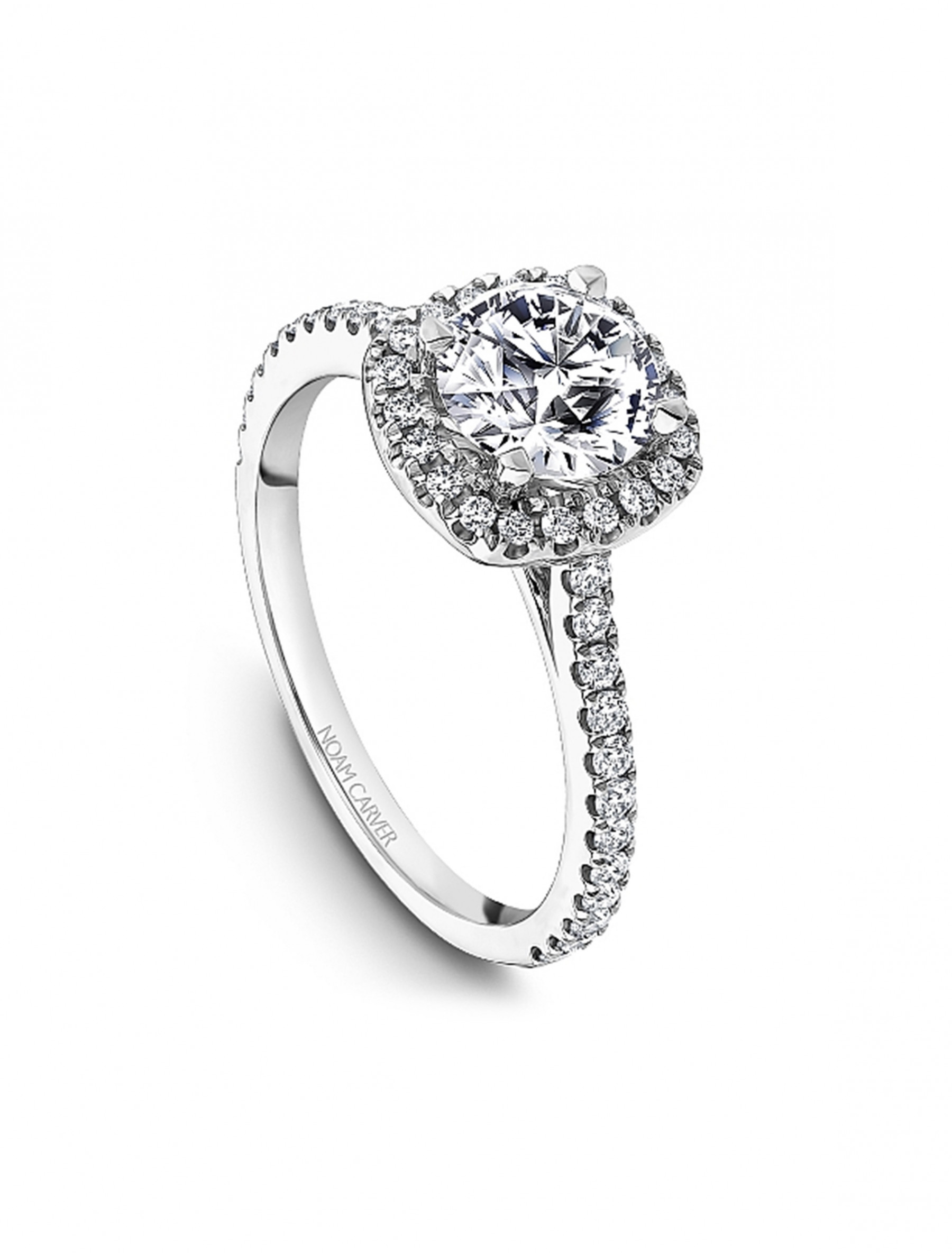 Noam Carver Round Cushion Halo Diamond Engagement Ring Setting in 18K White Gold angle view