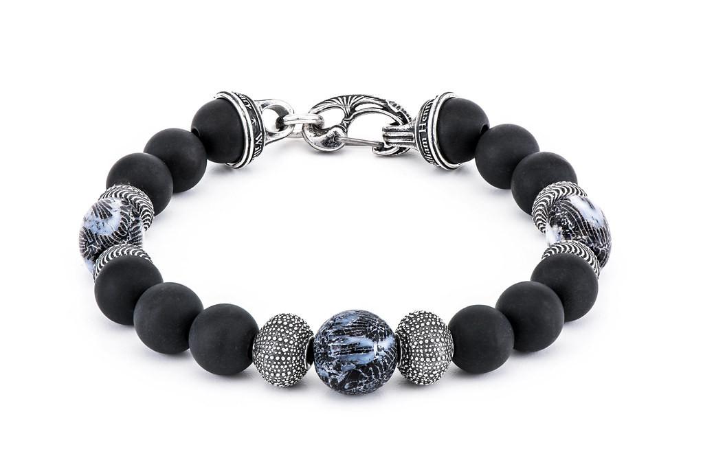 William Henry Freediver Black Onyx & Coral Beaded Bracelet