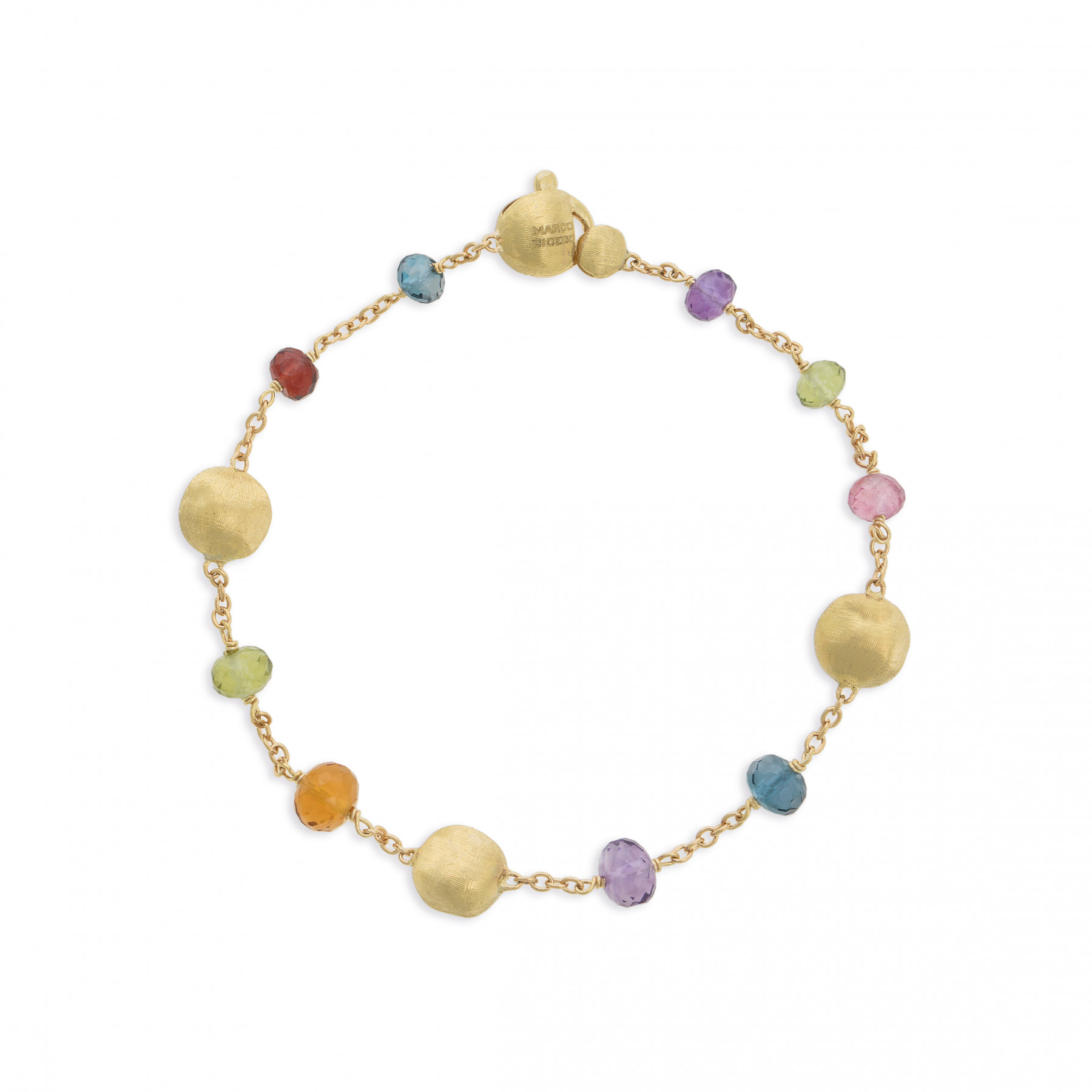Marco Bicego Yellow Gold Africa Color Mixed Gemstone Station Bracelet
