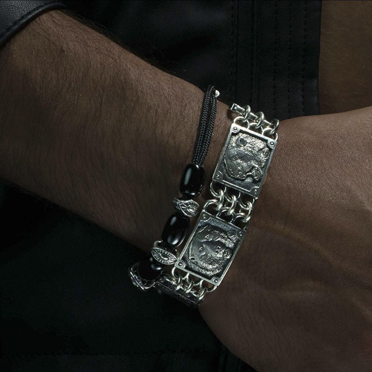 Silver Warrior Sardonyx Gallant William Henry Beaded Bracelet on Model