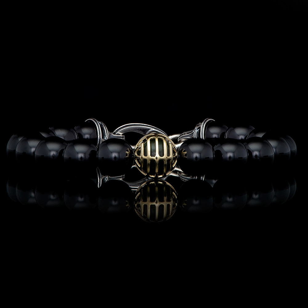 William Henry Midnight Hour Embrace Two-Tone  Black Onyx & Jade Beaded Bracelet