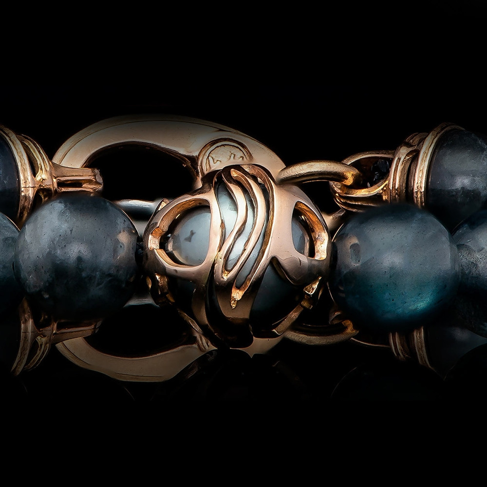 William Henry Moonlight Embrace Rose Gold Labradorite & South Sea Pearl Beaded Bracelet Up Close View