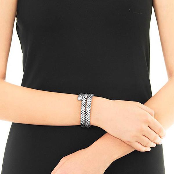 John Hardy Silver Double Coil Dot Bracelet on Model