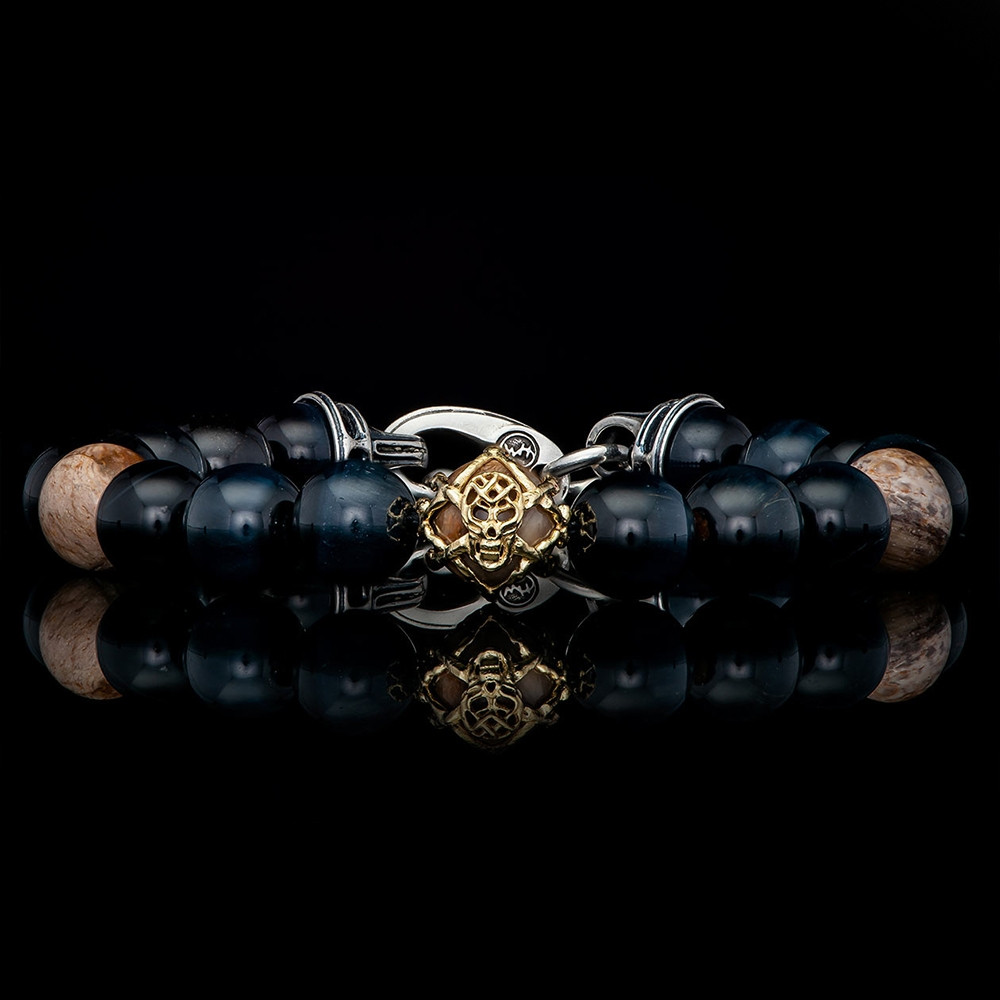 William Henry Dusk Embrace Two Tone Blue Tiger's Eye & Petrified Wood Beaded Bracelet Front View