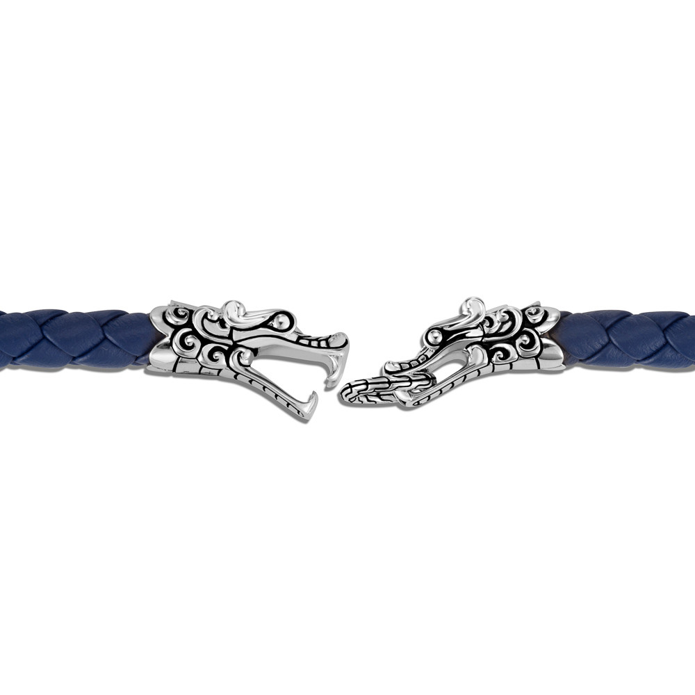 John Hardy Legends Naga Silver Double Dragon Blue Leather Bracelet clasp view