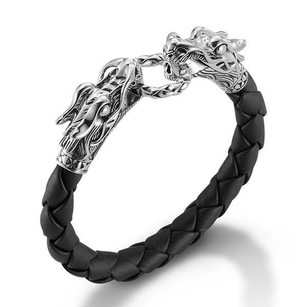 "John Hardy Naga Silver Double Dragon Black Woven Leather Bracelet 6.75"""