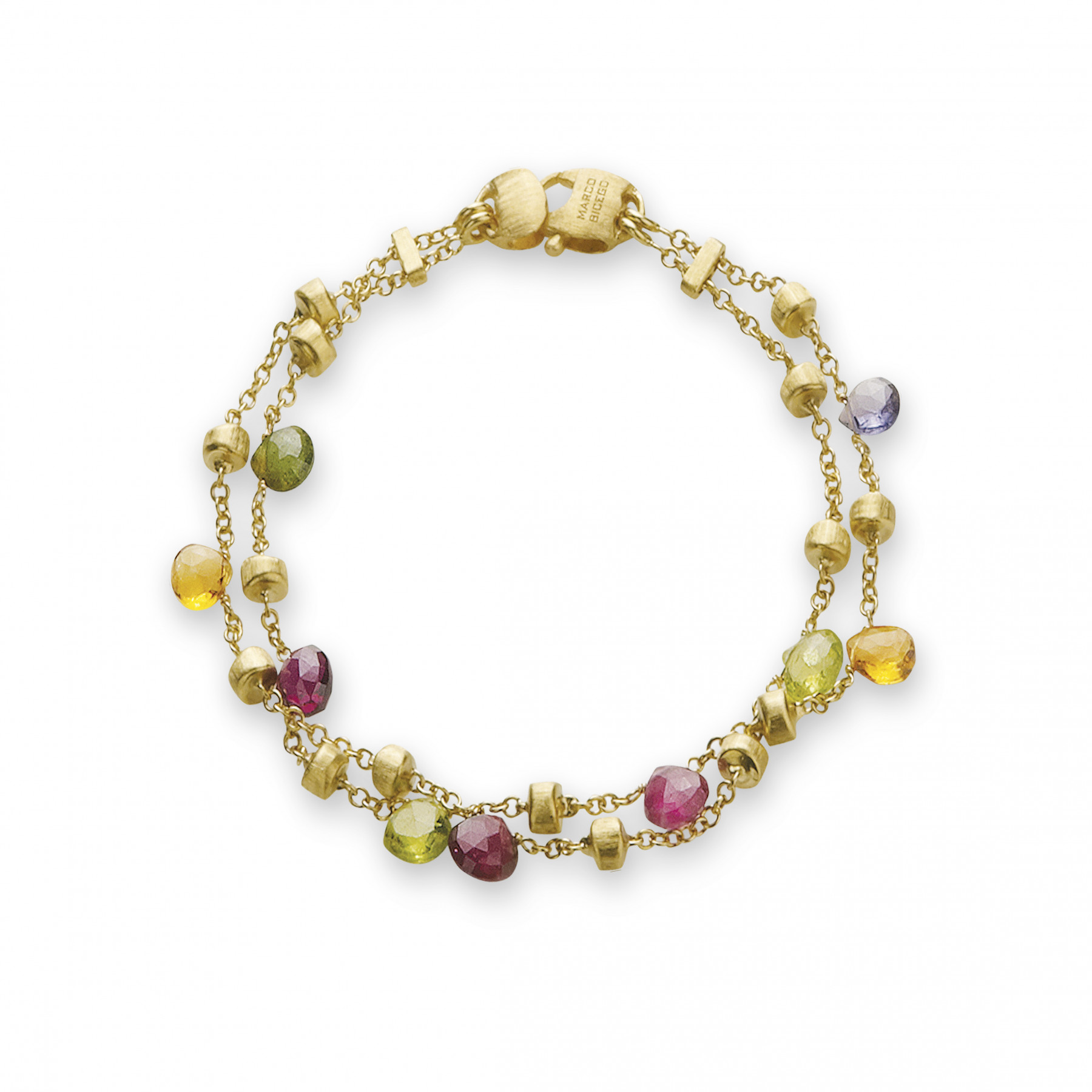 Marco Bicego Paradise 2 Strand 18kt Yellow Gold Bracelet with Multi-Colored Gemstones