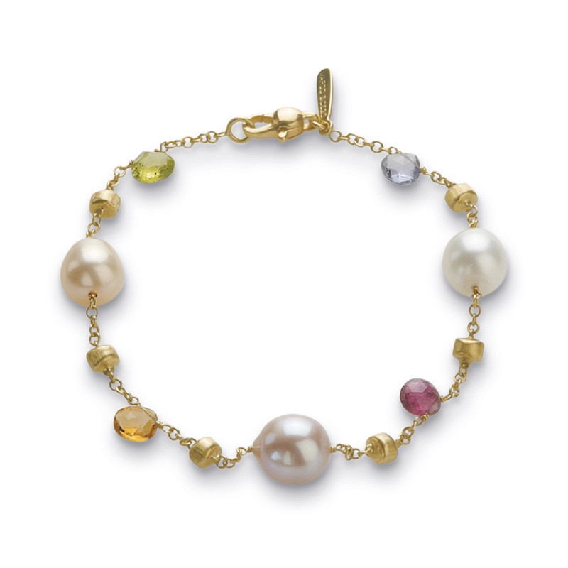 Marco Bicego Paradise 18kt Yellow Gold Bracelet with Multi-Colored Gemstones & Fresh Water Pearls