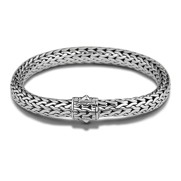 John Hardy Classic Chain 7.45mm Silver Bracelet with Chain Clasp 7.5""