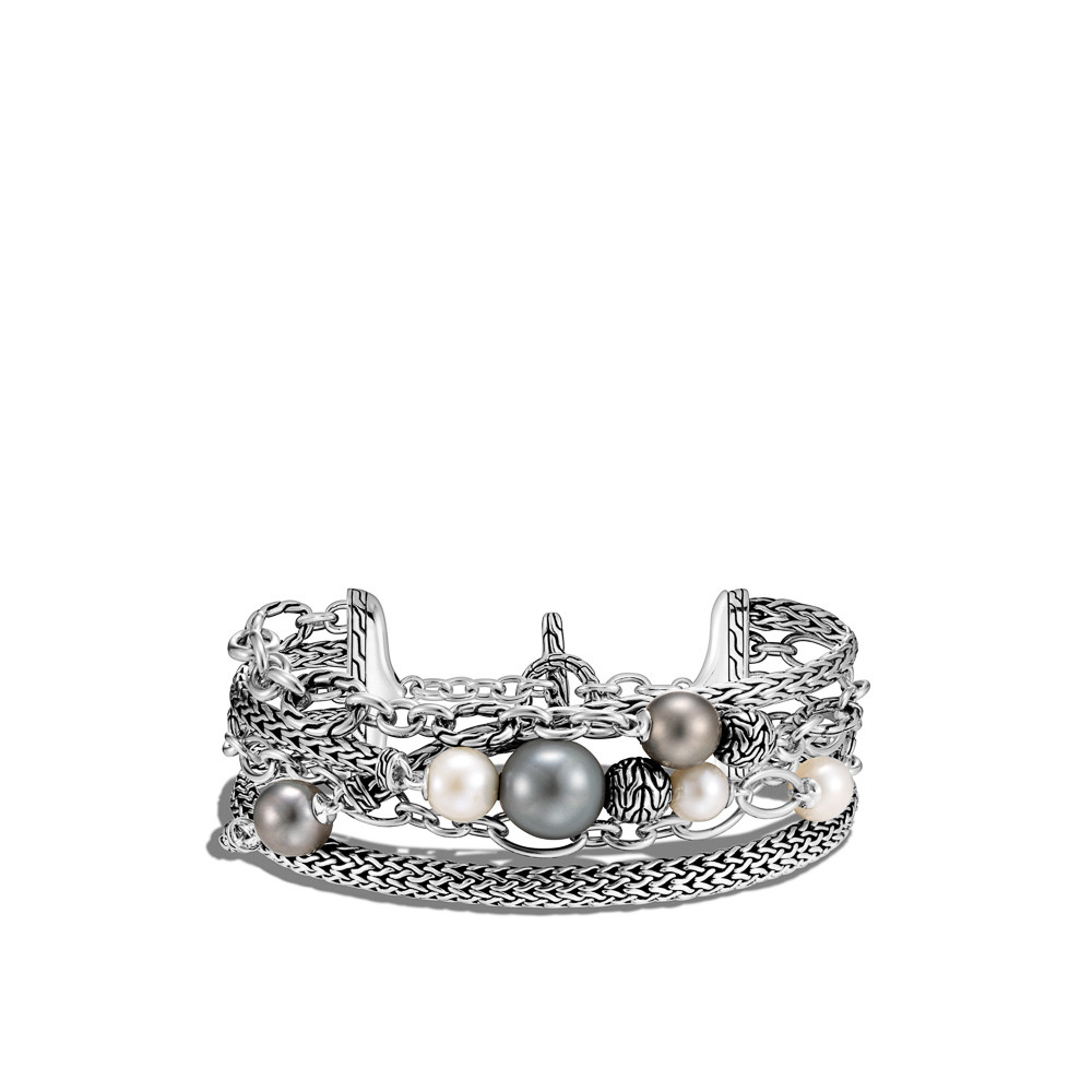 John Hardy Classic Chain Pearl Layered Chain Bracelet in Sterling Silver