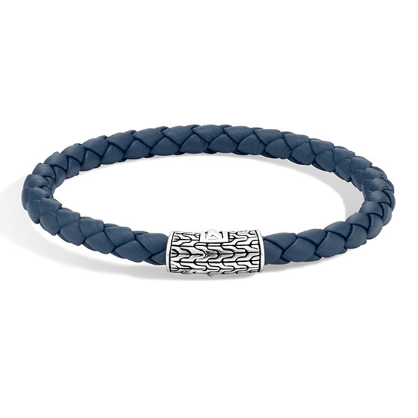 John Hardy Classic Chain Woven Blue Leather Cord Bracelet