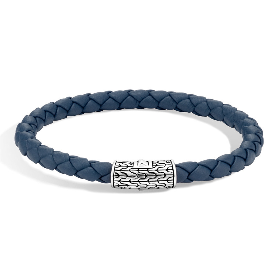 John Hardy Large Classic Chain Dark Blue Woven Leather Bracelet