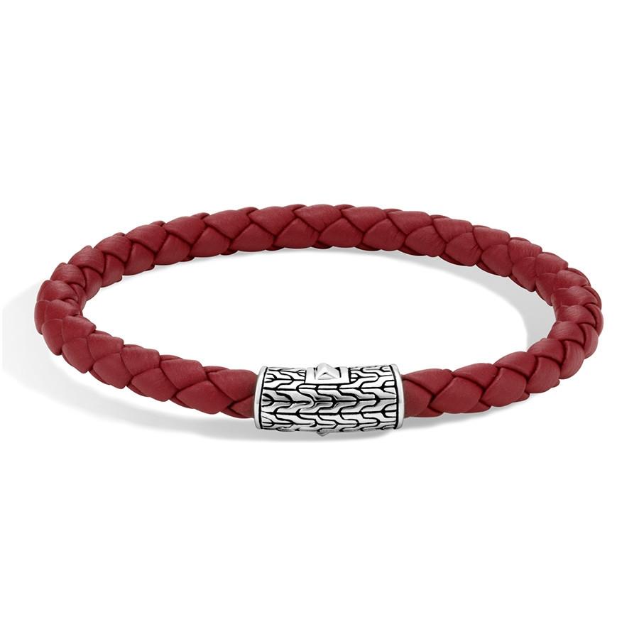 John Hardy Classic Chain Medium Silver & Red Woven Leather Bracelet