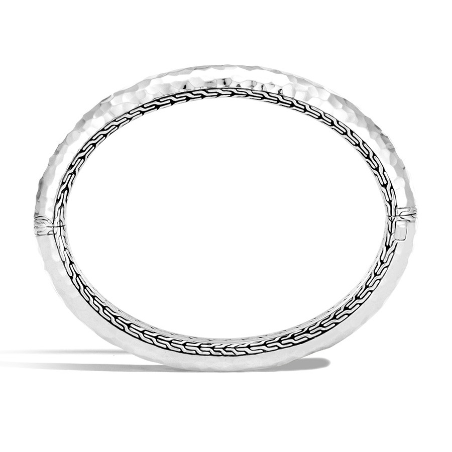John Hardy Classic Chain Silver Hammered Bangle Side View