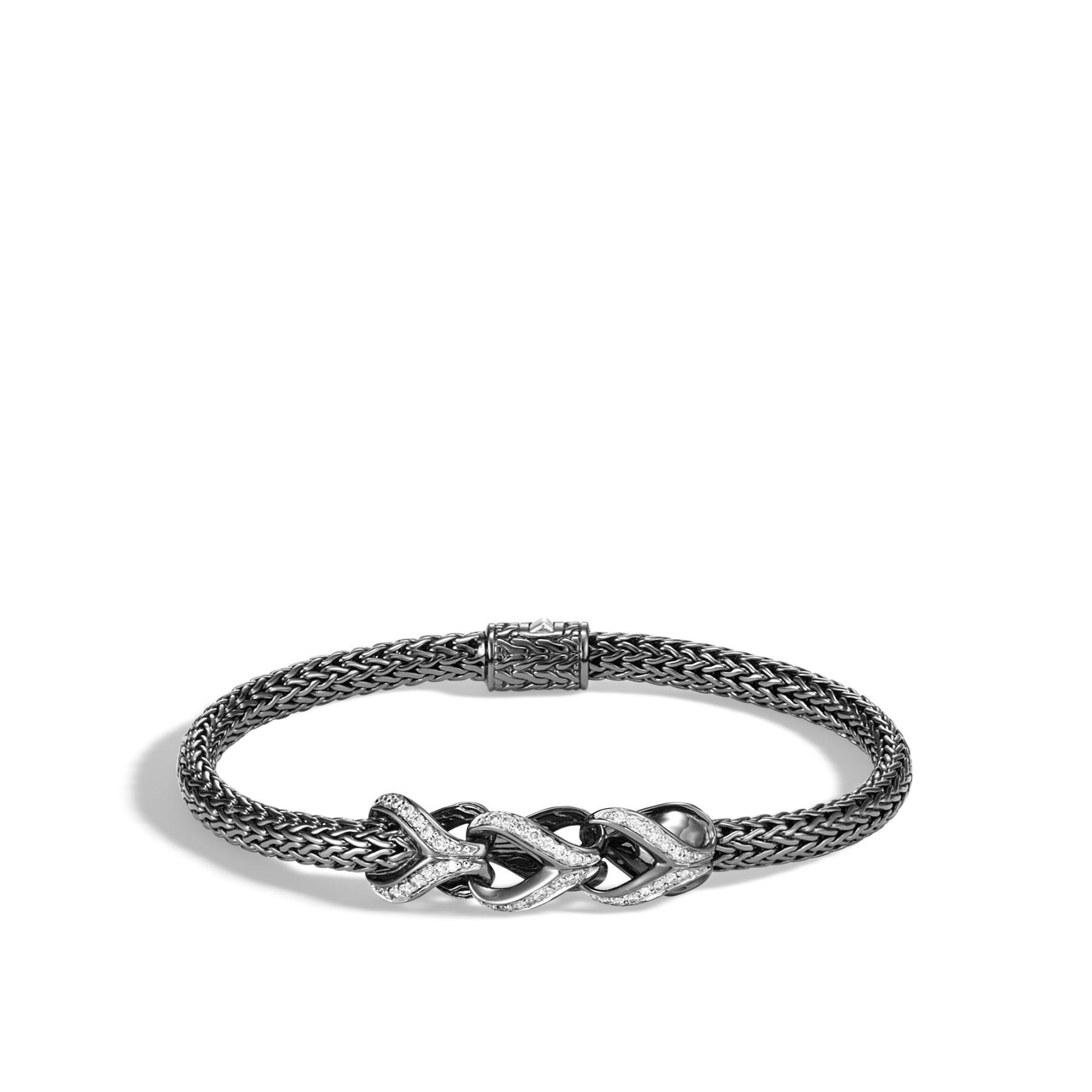 John Hardy Asli Classic Chain Diamond Black Rhodium Bracelet