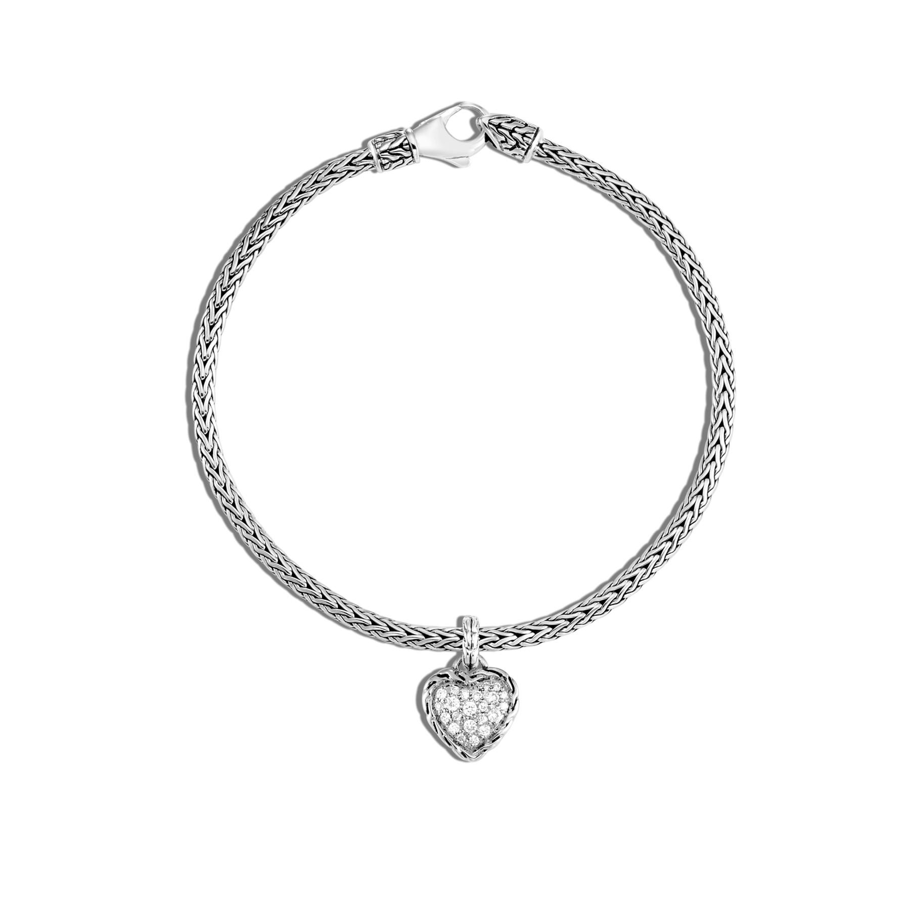 John Hardy Classic Chain Diamond Heart Charm Bracelet in sterling silver