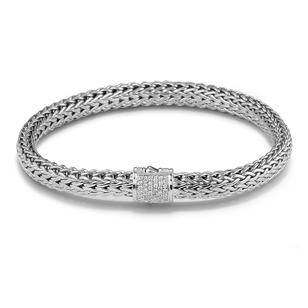 John Hardy Classic Chain 6.25mm Silver Bracelet with Pave Diamond Clasp .17ctw 7.5""