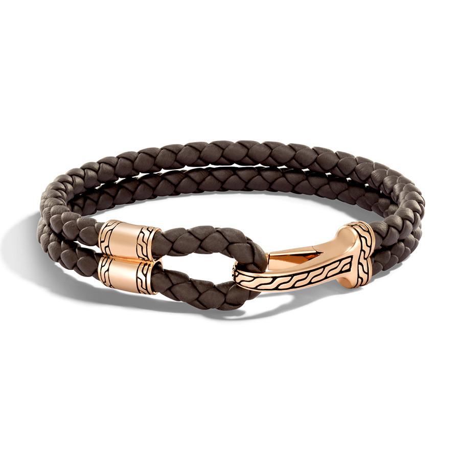 John Hardy Classic Chain Hook Clasp Bronze & Brown Leather Bracelet