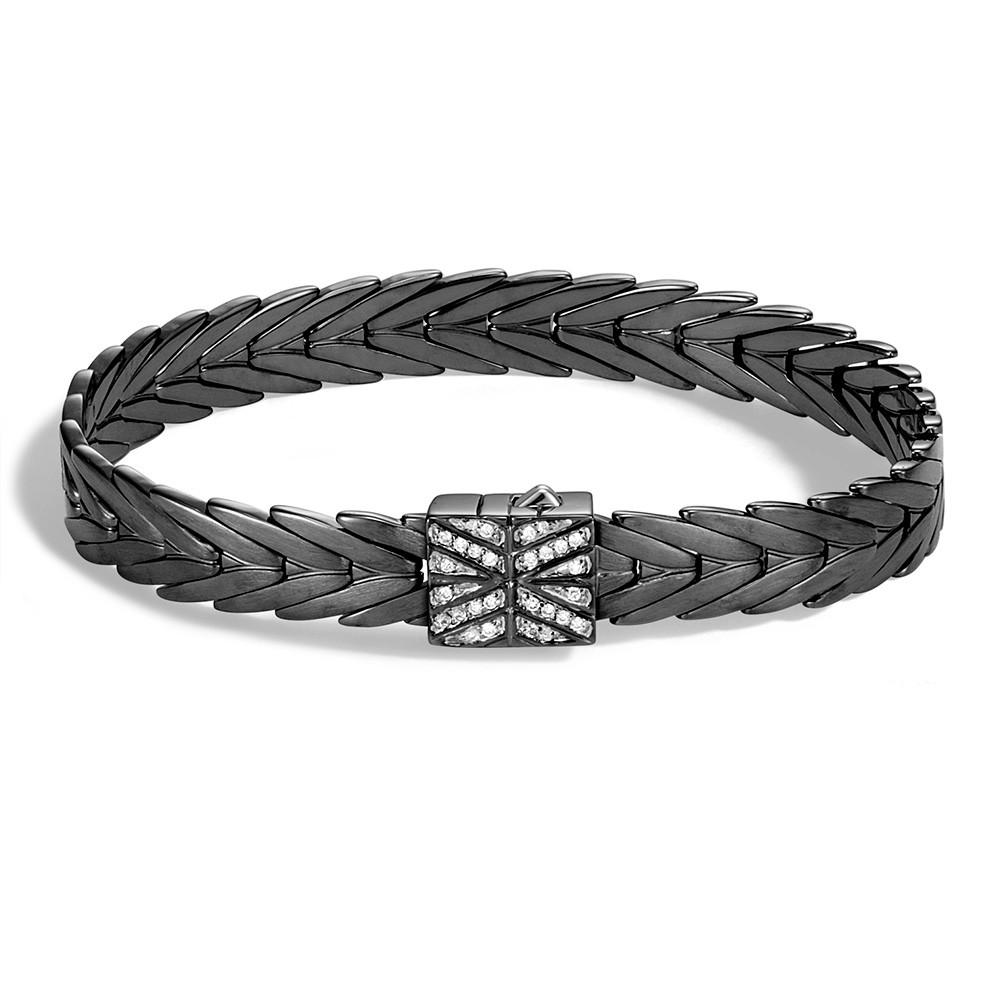 John Hardy Medium Modern Chain Blackened Silver Diamond Clasp Bracelet