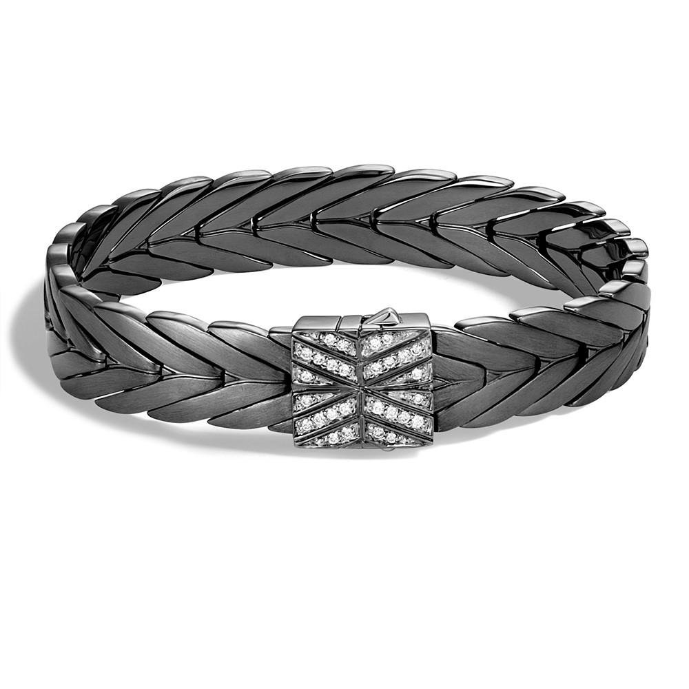 John Hardy Wide Modern Chain Blackened Silver Diamond Clasp Bracelet