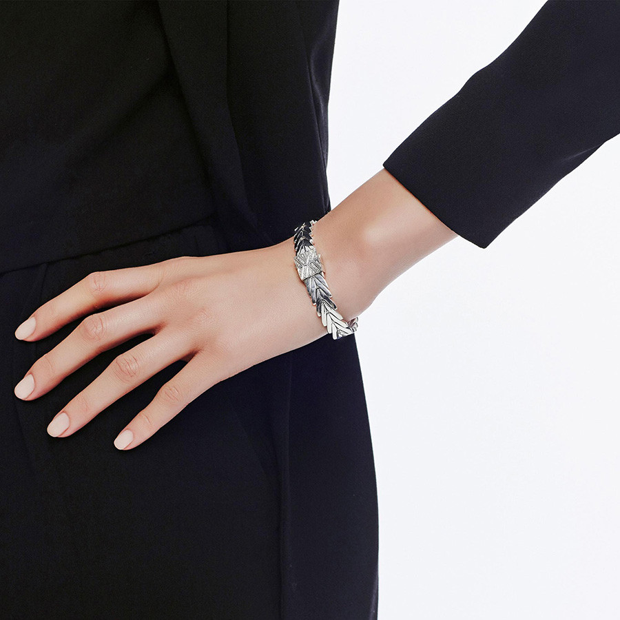 John Hardy Medium Modern Chain Silver & Diamond Clasp Bracelet on Model