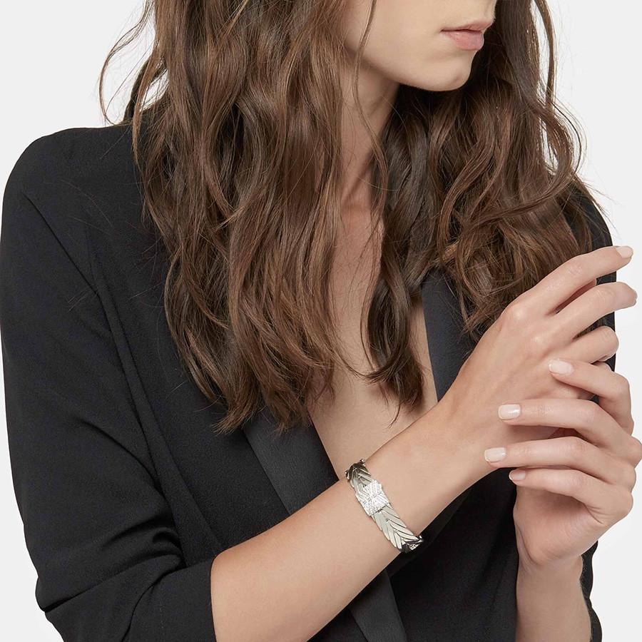 John Hardy Silver Pave Diamond 13mm Modern Chain Bracelet on Model