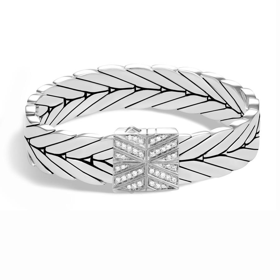 John Hardy Silver Pave Diamond 13mm Modern Chain Bracelet