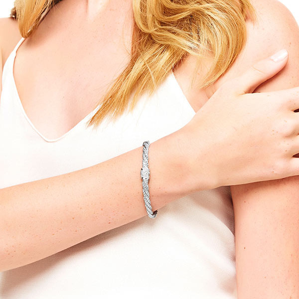 John Hardy Classic Chain Twisted Diamond Bracelet on Model