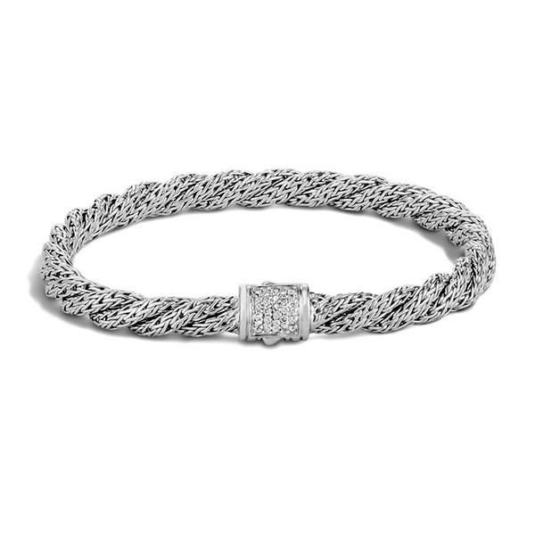 John Hardy Classic Chain Slim Twisted Diamond Bracelet